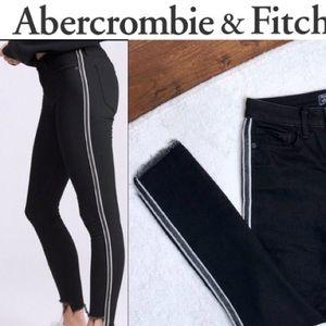 Abercrombie Black Ankle Jeans Side Stripe Size 2